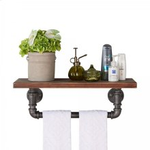 "Armen Living 24"" Jarrett Industrial Pine Wood Floating Wall Shelf in Gray and Walnut Finish"