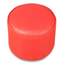 Round Footrest, Embossed Croc Red Leathr