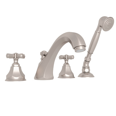 Satin Nickel Palladian 4-Hole Deck Mount Tub Filler With Handshower with Palladian Metal Lever