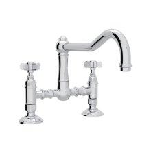 Polished Chrome Italian Kitchen Acqui Deck Mount Column Spout Bridge Kitchen Faucet with Five Spoke Handle