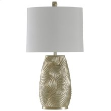 L39767  Champagne Silver Lamp with White Fabric Drum Shade