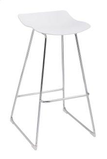 Neo - Barstool White Pu Seat No Back-chrome Base (Set of 2)