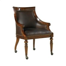 GAME CHAIR, CHOCOLATE LEATHER UPH.