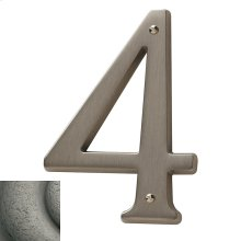 Distressed Antique Nickel House Number - 4