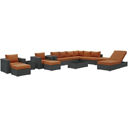 Sojourn 12 Piece Outdoor Patio Sunbrella® Sectional Set in Canvas Tuscan