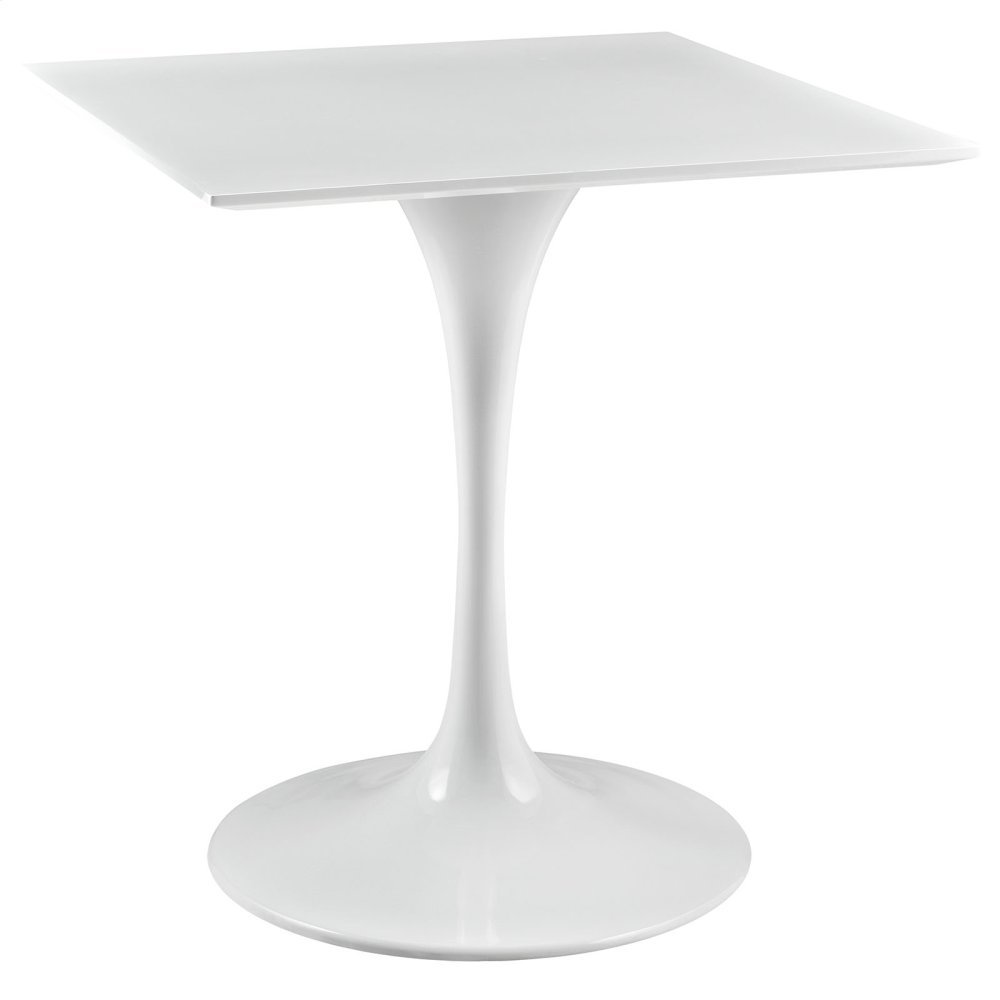 "Lippa 28"" Square Wood Top Dining Table in White"