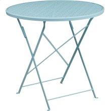 30'' Round Sky Blue Indoor-Outdoor Steel Folding Patio Table