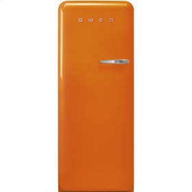 "Approx 24"" 50'S Style Refrigerator with ice compartment, Orange, Left hand hinge"