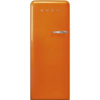 """Approx 24"""" 50'S Style Refrigerator with ice compartment, Orange, Left hand hinge"""