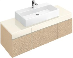 "Washbasin 39"" (Ground) Angular - Matte White CeramicPlus"