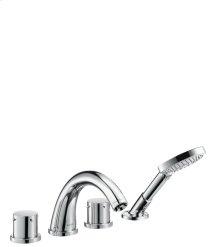 Chrome 4-hole tile mounted bath mixer with zero handles