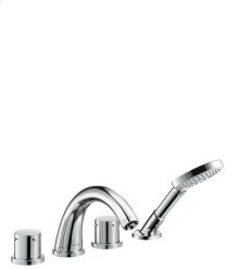 Chrome 4-hole tile mounted bath mixer with zero handles