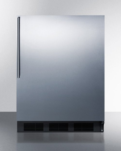 Built-in Undercounter Refrigerator-freezer for Residential Use, Cycle Defrost W/deluxe Interior, Stainless Steel Wrapped Door, Thin Handle, and Black Cabinet