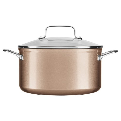 6 Quart Hard Anodized Non-Stick Low Casserole with lid - Toffee Delight