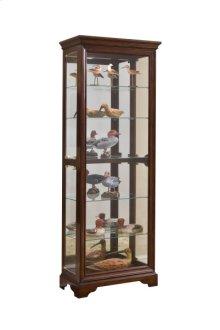 Mirrored 5 Shelf Gallery Curio Cabinet in Oak Brown