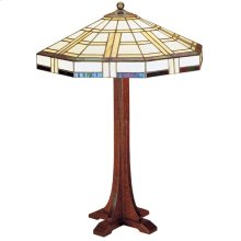 Art Glass Shade Cross Base Table Lamp