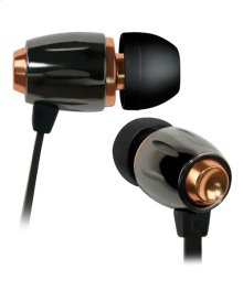 Black Chrome and Copper in-ear stereo headphones by Bell'O Digital