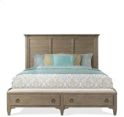 Myra Queen Upholstered Bench Storage Footboard Natural finish Product Image