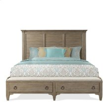 Myra Queen Upholstered Bench Storage Footboard Natural finish