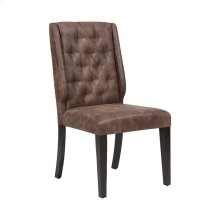 Elkins Dark Tan Faux Suede, Rubber Wood In Dark Brown Finish Dining Chair