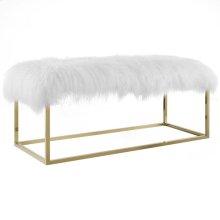 Anticipate White Sheepskin Bench in Gold