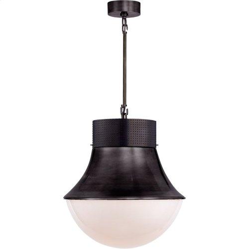 Visual Comfort KW5223BZ-WG Kelly Wearstler Precision 1 Light 17 inch Bronze Pendant Ceiling Light, Kelly Wearstler, Large, White Glass