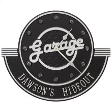 "Garage Personalized 12"" Indoor Outdoor Wall Clock - Black/Silver"