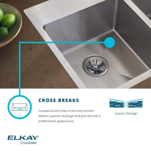 "Elkay Crosstown Stainless Steel 32-1/2"" x 20-1/2"" x 9"", Offset Double Bowl Undermount Sink with Water Deck"