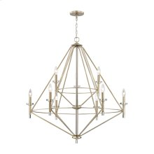 Lacombe 9-Light Chandelier in Aged Silver with Clear Glass Accents
