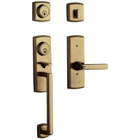 Satin Brass and Black Soho Two-Point Lock Handleset
