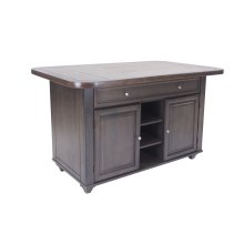 Sunset Trading Shades of Gray Kitchen Island  Grey Tile Top