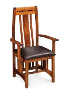 Aspen Arm Chair with Lower Back, Asphalt Leather, Cherry #26 Michael's, Aspen Arm Chair with Lower Back, Asphalt Leather, Cherry Product Image