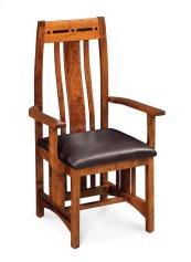 Aspen Arm Chair with Lower Back, Asphalt Leather, Cherry #26 Michael's, Aspen Arm Chair with Lower Back, Asphalt Leather, Cherry