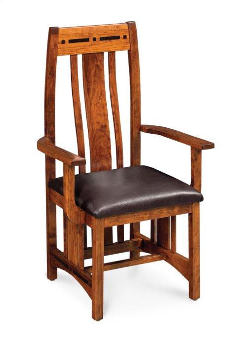 Aspen Arm Chair with Lower Back, Asphalt Leather, Cherry #26 Michael's, Aspen Arm Chair with Lower Back, Asphalt Leather, Cherry #26 Michael's