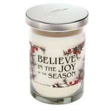"""Believe in the Joy of the Season"" 10.4 oz. Cranberry Scented Candle Jar."