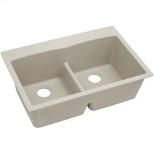 "Elkay Quartz Classic 33"" x 22"" x 10"", Equal Double Bowl Drop-in Sink with Aqua Divide, Putty"