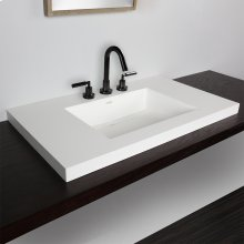 "Vanity-top Bathroom Sink made of solid surface, with an overflow and decorative drain cover. 03 - three faucet holes in 8"" spread,"