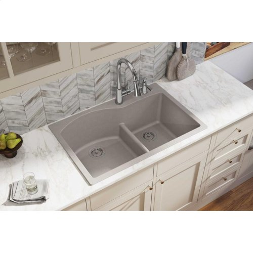 "Elkay Quartz Classic 33"" x 22"" x 10"", Offset 60/40 Double Bowl Drop-in Sink with Aqua Divide, Greige"