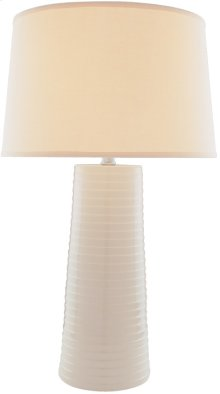 Ceramic Table Lamp, Ivory/fabric Shade, E27 Cfl 25w/3-way