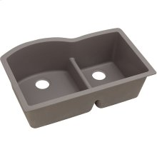 "Elkay Quartz Classic 33"" x 22"" x 10"", Offset 60/40 Double Bowl Undermount Sink with Aqua Divide, Greige"