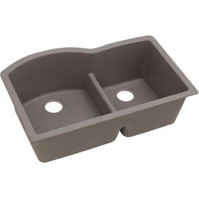 """Elkay Quartz Classic 33"""" x 22"""" x 10"""", Offset 60/40 Double Bowl Undermount Sink with Aqua Divide, Greige"""