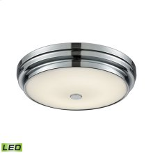 Garvey 1-Light Round Flush Mount in Chrome with Opal Glass Diffuser - Integrated LED - Small