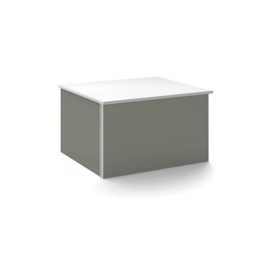 """V14 24-1/4"""" X 14"""" X 21"""" Wall-mount Vanity In Tinted Gray Mirror With Push-to-open Full Storage Drawer and Night Light"""