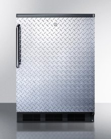 Commercially Listed Freestanding All-refrigerator for General Purpose Use, Auto Defrost W/diamond Plate Wrapped Door, Tb Handle, Lock, and Black Cabinet