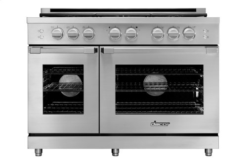 "48"" Heritage Gas Pro Range, Silver Stainless Steel, Natural Gas/High Altitude"