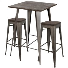 Oregon Low Back Pub Set - Antique Metal, Espresso Bamboo
