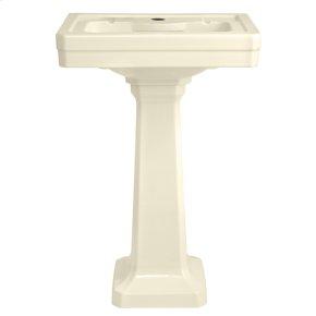 Fitzgerald 24 Inch Pedestal Bathroom Sink- Single Faucet Hole - Biscuit