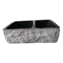 "Brandi Double Bowl Granite Farmer Sink - 33"" - Polished Blue Gray"