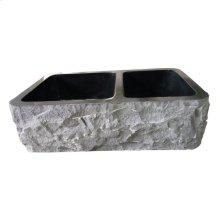 "Brandi Double Bowl Granite Farmer Sink - 33"" - Polished Blue Gray"
