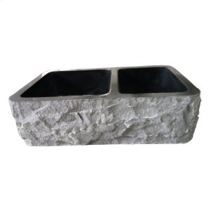 "Brandi Double Bowl Granite Farmer Sink - 33"" - Polished Blue Gray Product Image"
